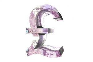 Pound sign in 20 pound notes